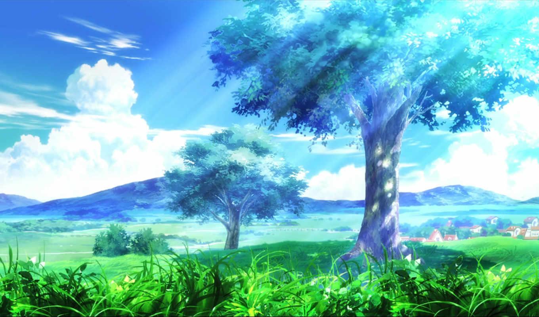 обои, трава, облака, категория, совершенно, аниме,