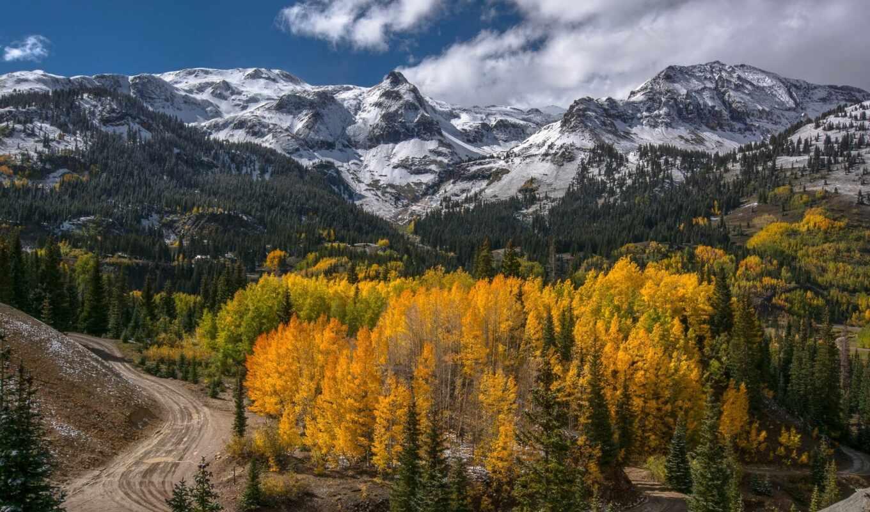 осень, горы, пейзаж, дорога, деревья,