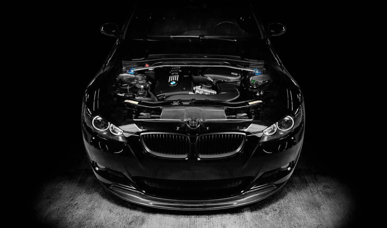 bmw, black, бмв, тюнинг, двигатель, картинку, картинка, resolution,