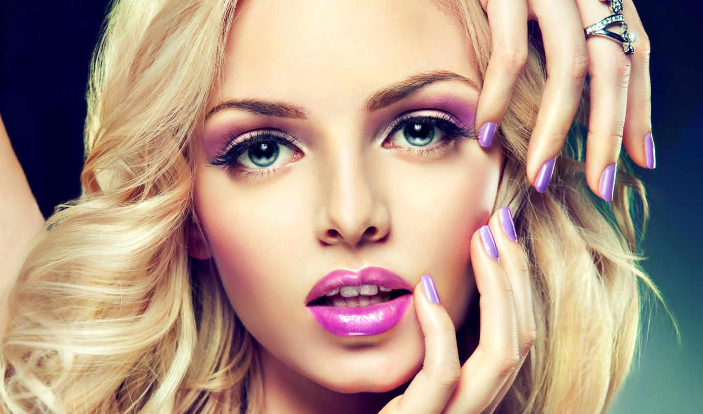 маникюр, модель, лицо, просмотреть, макияж,