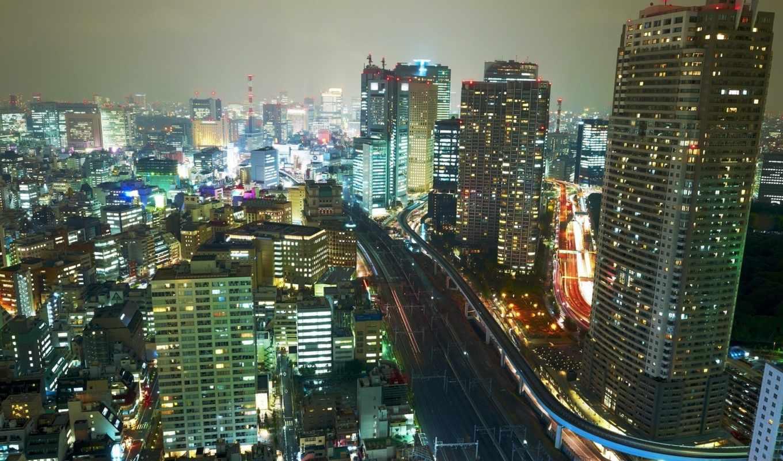ночь, япония, картинка, огни, shizuoka, здания, город, мост, городские, подборка,