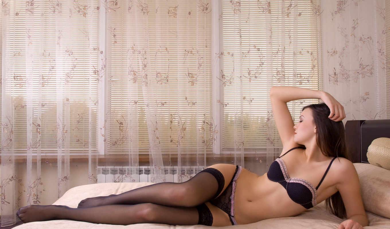 brunette, чулки, чулках, кровать, devushki, blonde, девушка, белье,
