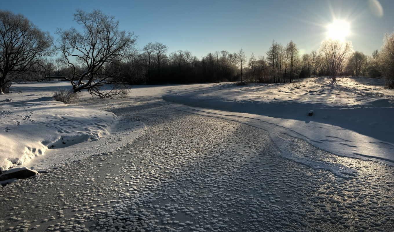 tapety, pulpit, drzewa, zima, rzeka, niebo, słońce, zamarznięta, mróz,