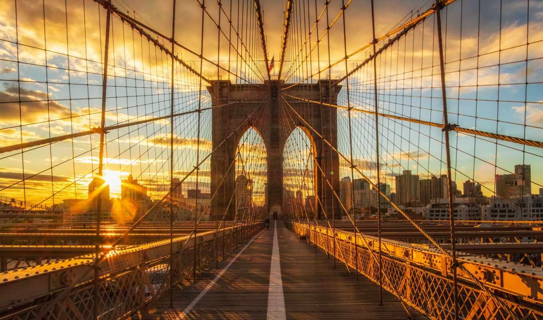 город, мост, утро, бруклин, рассвет, york, небо, new, мегаполис, нью