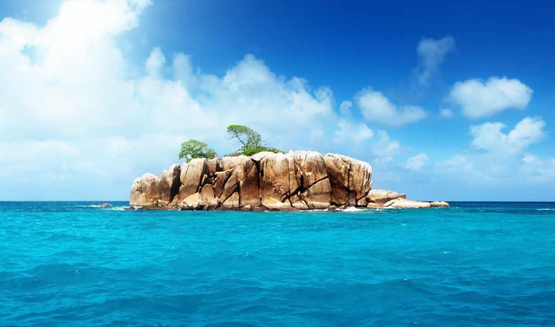 остров, природа, океан, пейзаж, небо, картинка,