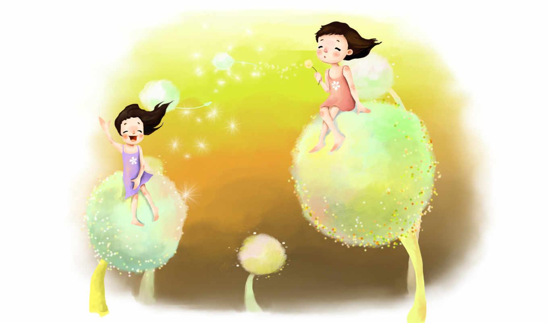 нарисованные, дети, девочки, одуванчики, верхом, дуть, мечты