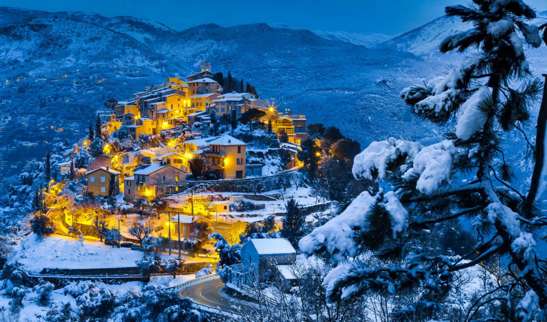 город, winter, luminous, вечер, картинку, городе,