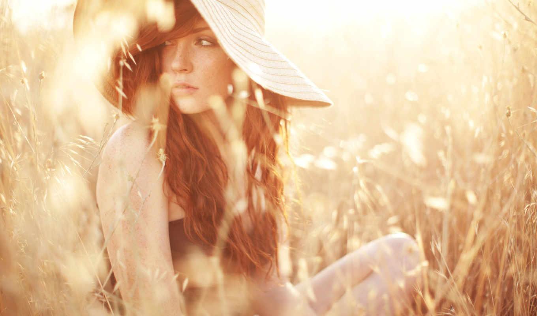 девушка, summer, свет, поле, sun, лучи, девушки,