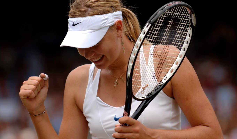 sharapova, спортсменка, maria, теннисистка, бросок, улыбка, удачный, победа,