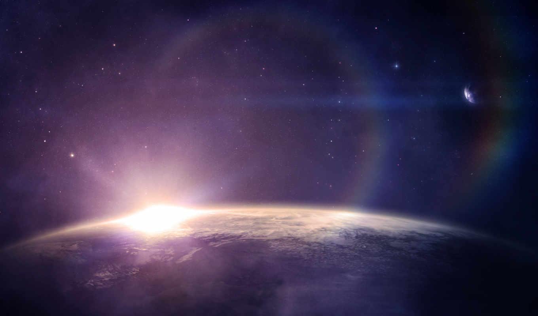 звезды, восход, планета, картинка, космос,