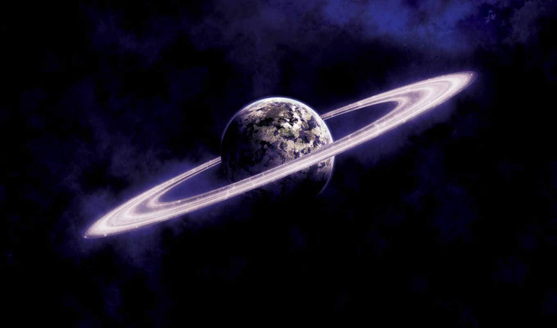 арт, космос, кольца, планета,