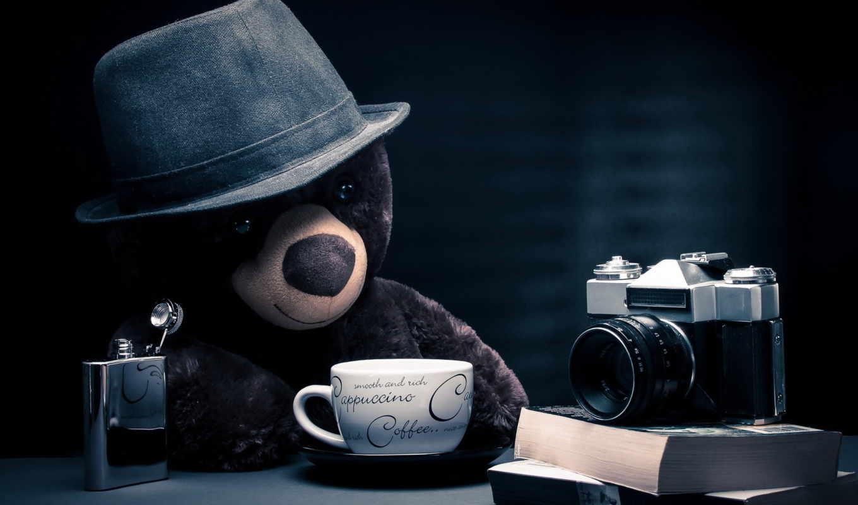 coffee, teddy, with, мишка, image, download, desktop, фотоаппарат, break, other, игрушки,