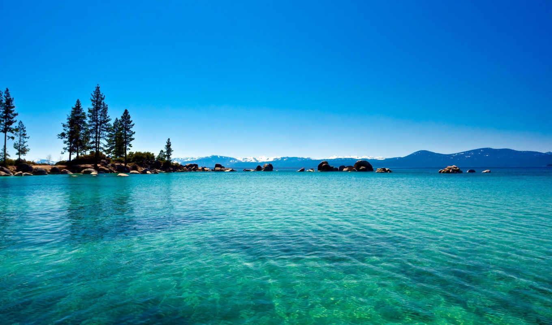 озеро, вода, природа, лес, tahoe, california, голубая,