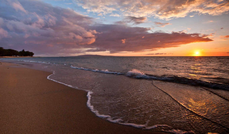 море, пляж, песок, волны, закат, пенка,