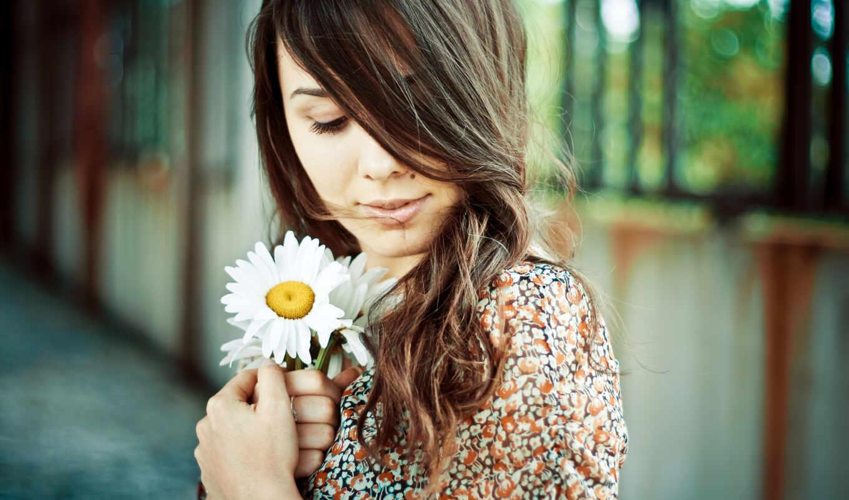 девушка, девушки, ромашка, родинка, волосы, взгляд, платье, цветы, красивая, картинка,