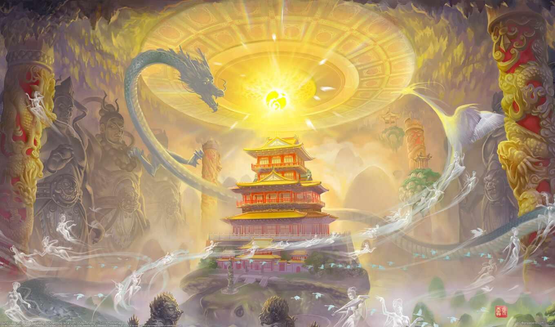 дракон, магия, девушка, art, храм, драконы,