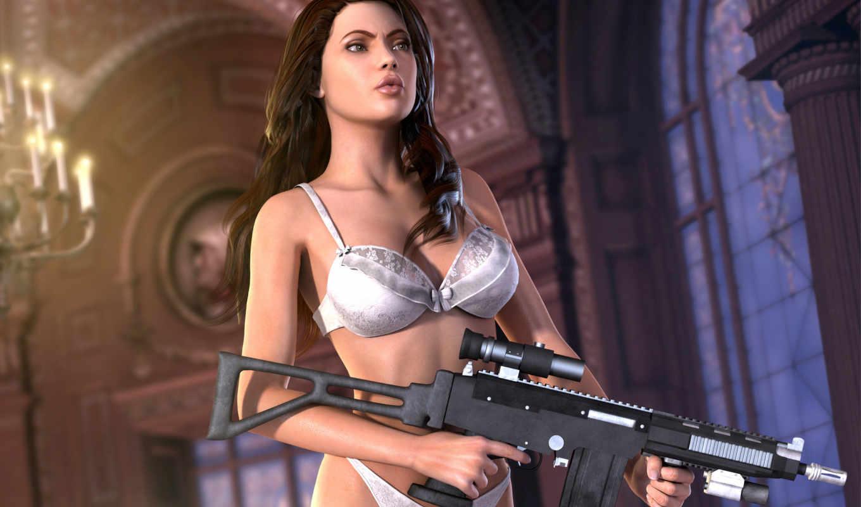 девушка, тело, оружие, rendering, белье, белое, лицо, pitoxlon, art, aicka,
