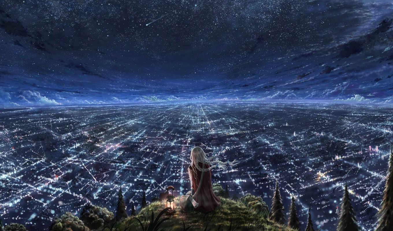 город, ночь, небо, anime, огни, изображение, без, названия,