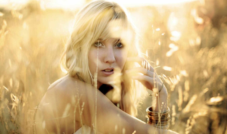 девушка, blonde, among, поле, сидит, колосков, грусть, взгляд,