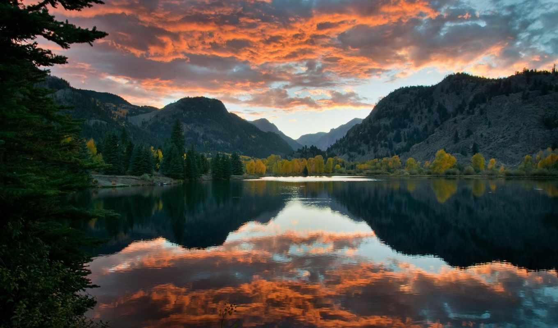 небо, linkedin, вечернее, котором, отражается, разрешениях, гладкая, озера, горы, озеро, разных,