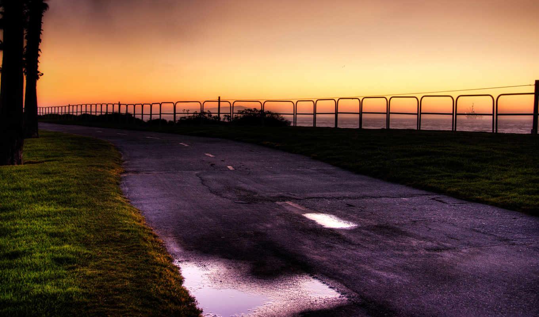 широкоформатные, дорога, хатингтон, восходу,