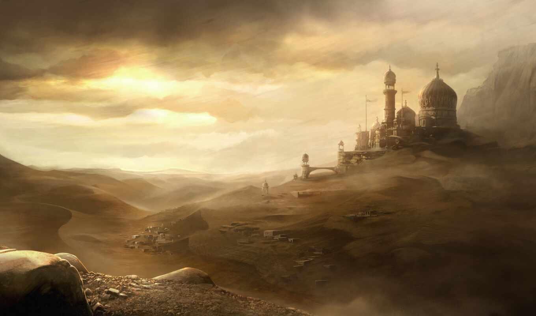 prince, persia, город, небо, пустыня, пыль, ветер, песок, игры, sands, forgotten,