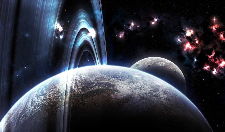 картинка, красиво, крупно, вид, space, planets, rings, digital, art,