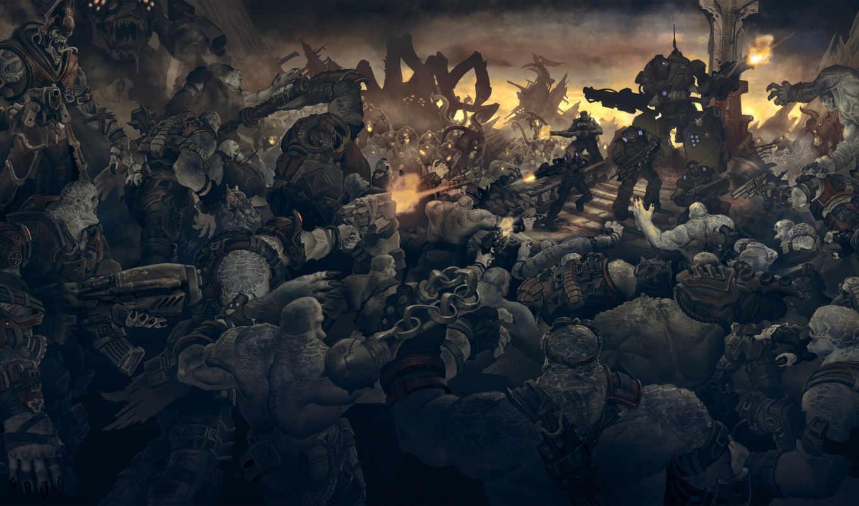 gears, war, игры, солдаты, монстры,