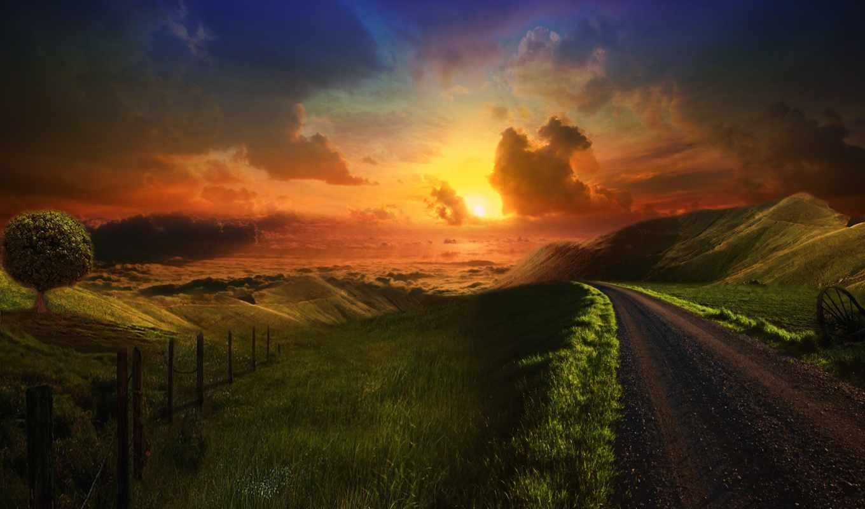 дорога, холмы, трава, sun, закат, небо, margin,