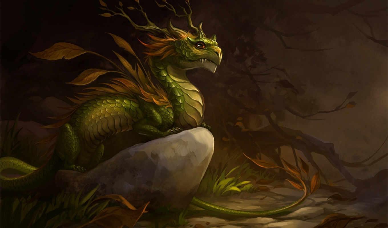 дракон, лес, листья, арт, камень, sandara, осень, драконы,