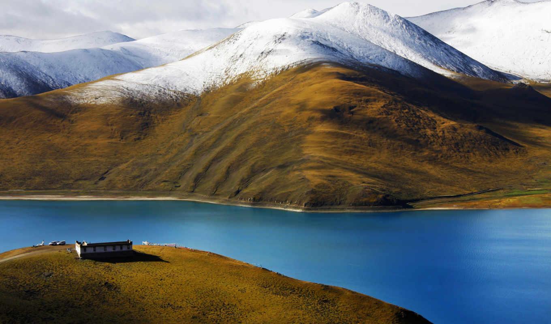 горы, тибет, река, дом, облака, небо, китай,