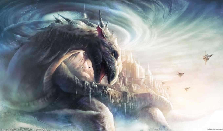 дракон, земля, город,небо