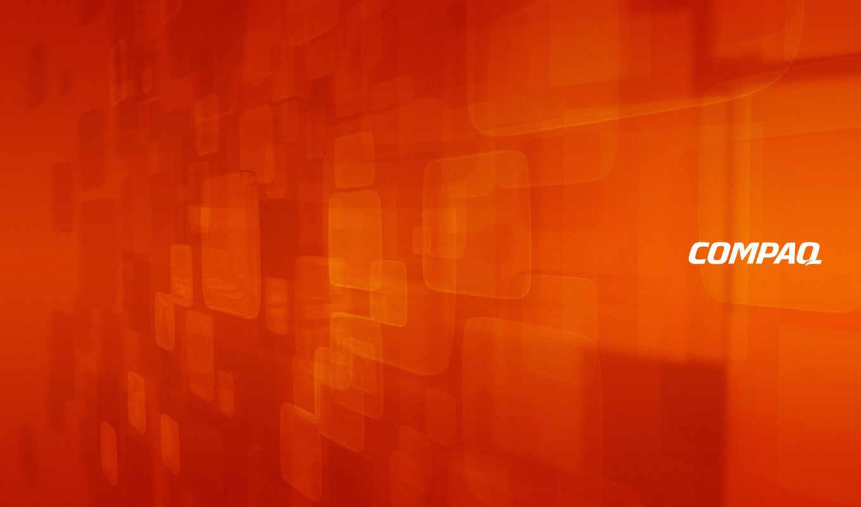 compaq, оранжевый, лого