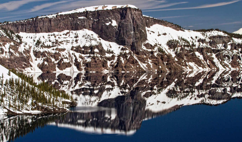 озеро, гора, картинка, камни, mt, горы, crater, напиток, отражение, небо,
