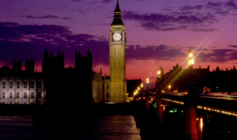 биг, бен, london, ночь,