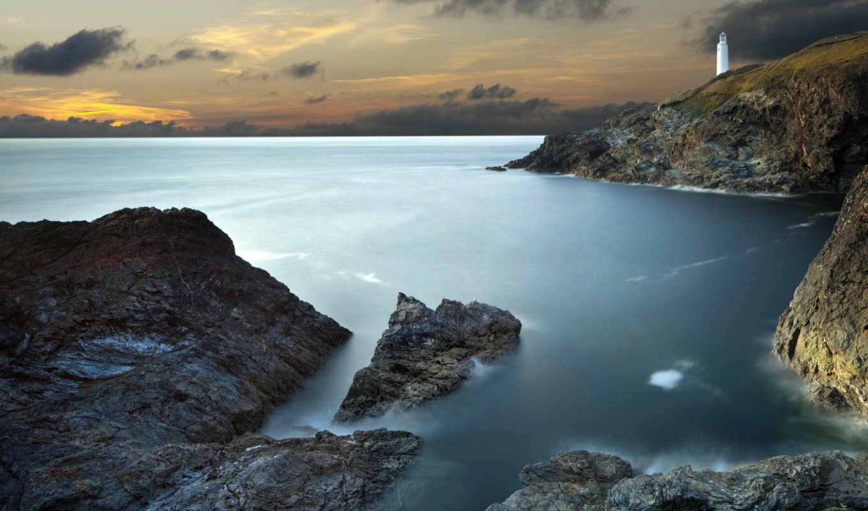 море, rock, ocean, побережье, камень, пейзажи -, lighthouse, шпалери, rocks,