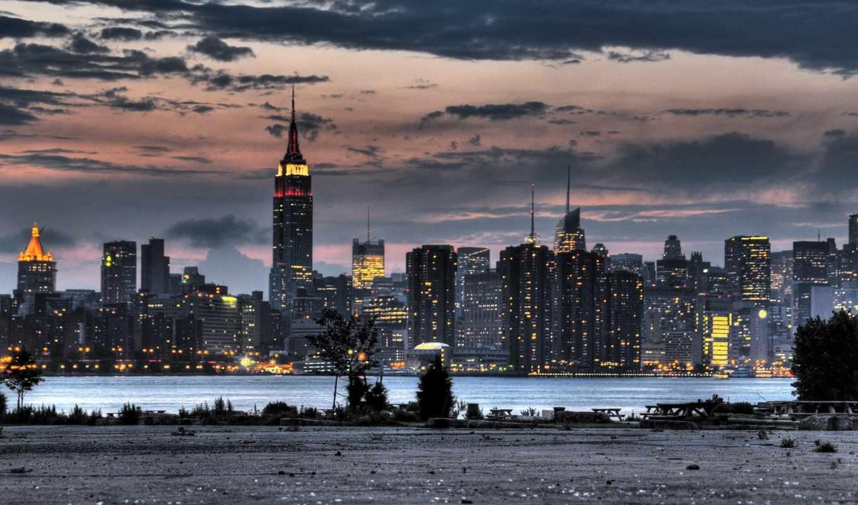 york, state, empire, город, building, река, небоскребы, деревья, картинка, огни,