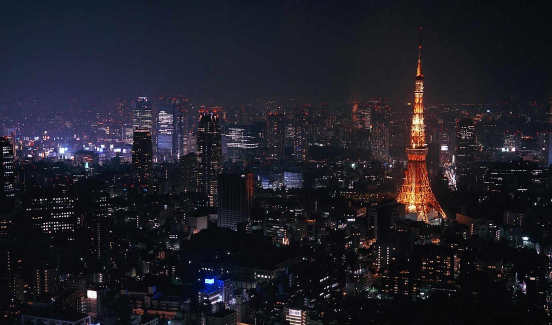 night, city, desktop, города, full, tokyo, landscape,