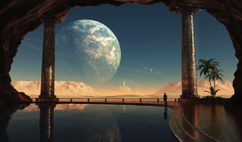 город, планета, бассейн, кольца, фантастика, купол, вид, вселенной, во, то, где, видом, разное, небо, часть, комната, картинку,