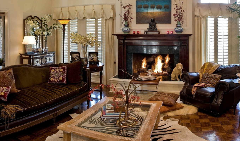 комната, камин, interior, living, комнаты, диван, камином,