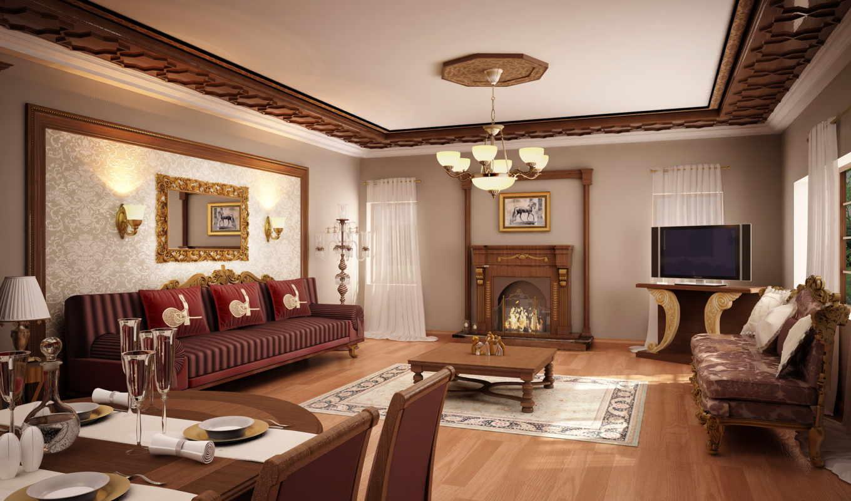 interer, dizain, потолок, гостиная, диван, комната, люстра, гостиной,