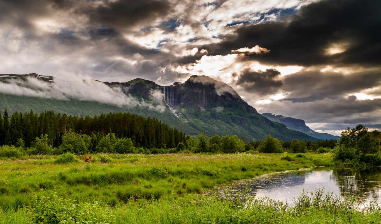 норвегия, природа, горы, города, трава, hemsedal, landscape, мб,