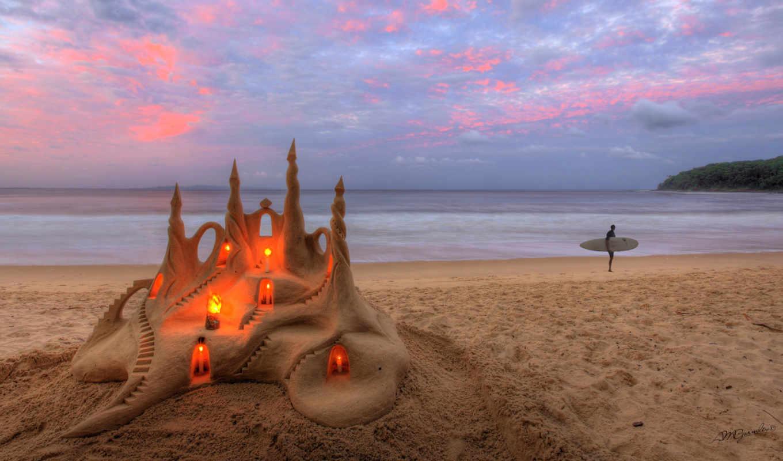 песок, море, свечи, пляж, castle, природа,