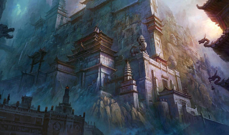 город, китай, восток, арт, скульптуры, скалы, картинка, замок, горы,
