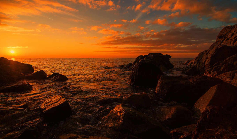 море, закат, камни, берег, облака,