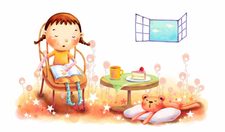 нарисованные, девочка, медвежонок, книга, окно, торт, стул, подушка, чашка
