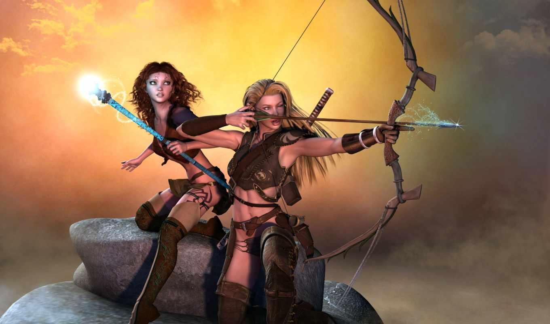 archer, лук, девушка, art, эльф, фэнтези, маг, masterbo, орлан, птица, лес, воин,