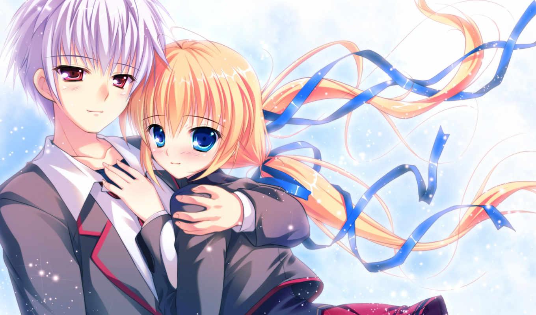 девушка, anime, парень, пара, искры, форма, ленты,