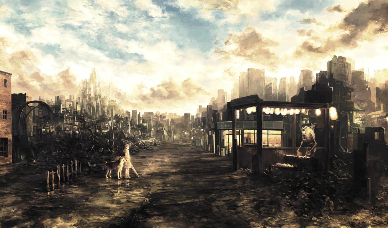 постапокалипсис, будущее, развалины, art, дорога,