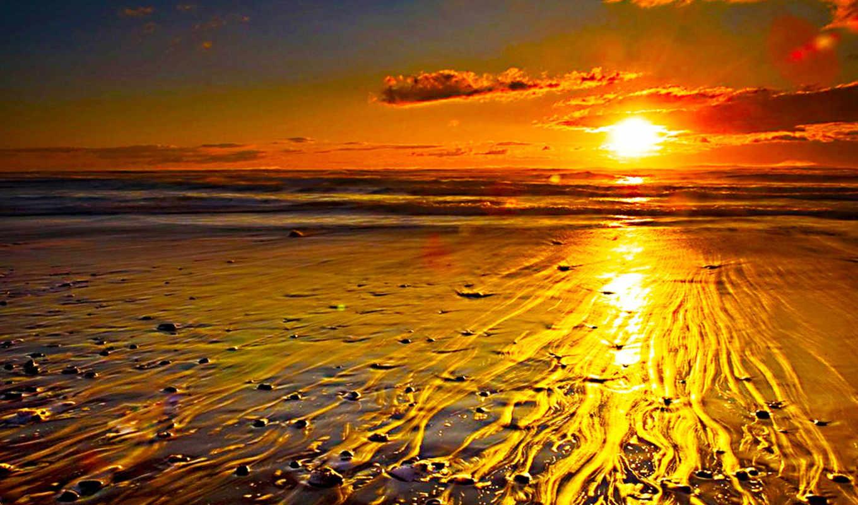 пляж, закат,